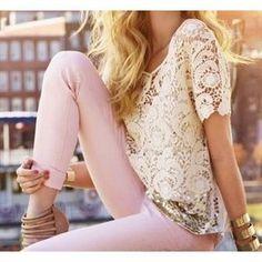 Light pink jeans + lace= <3