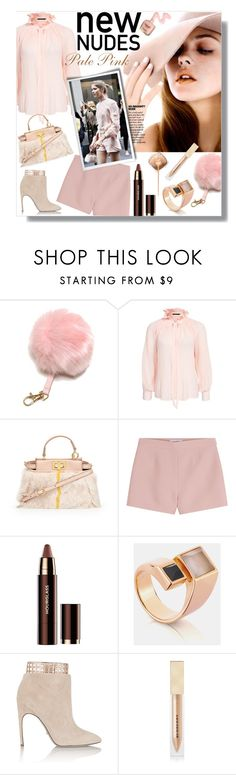 """""""New Nudes -pale pink"""" by watereverysunday ❤ liked on Polyvore featuring Rut&Circle, Fendi, Valentino, Hourglass Cosmetics, Sergio Rossi, Burberry, women's clothing, women, female and woman"""