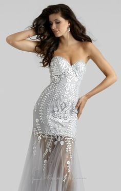 Strapless Embellished Gown by Clarisse 4306