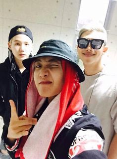 BTS rapper-line selca~~ hehe, or how I would say it: YoonSeok with Rap Monster~ Peace! ✌️