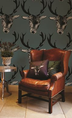 Stag Head Wallpaper by Lisa Bliss Lifestyle from Graduate Collection