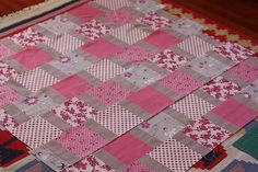 Quick quilt with no points to match. Use up some random scraps too!