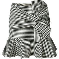 Veronica Beard gingham ruffle miniskirt (¥45,140) ❤ liked on Polyvore featuring skirts, mini skirts, black, frilled skirt, short frilly skirt, mini skirt, gingham mini skirt and frilly skirt