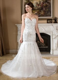 Wedding Dresses - $239.99 - Trumpet/Mermaid Sweetheart Chapel Train Organza Satin Wedding Dress With Embroidered Beading Sequins (002011528) http://jjshouse.com/Trumpet-Mermaid-Sweetheart-Chapel-Train-Organza-Satin-Wedding-Dress-With-Embroidered-Beading-Sequins-002011528-g11528