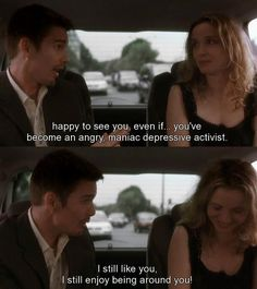 My favourite movie even tho I haven't watched still need to waiting for the perfect guy to watch it with Before Sunset Quotes, Before Sunset Movie, Before Sunrise Trilogy, Before Trilogy, Sunrise Quotes, Movie Love Quotes, Favorite Movie Quotes, Tv Show Quotes, Film Quotes