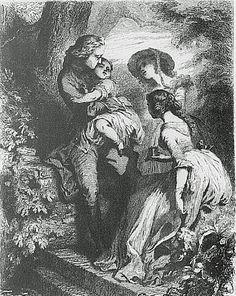 Werther Franse editie (1845): Werther met Charlotte en de kinderen