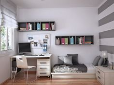 Charmant Teenage Bedroom Ideas With Modern Wall Shelves Picture