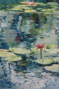 Water lily pond, nice tutorial using masking fluid