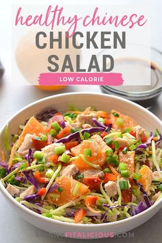 Healthy Chinese Chicken Salad is an delicious Paleo throw together salad. #paleo #healthy #Chinese #chicken #salad #lowcalorie #low #calorie #glutenfree Healthy Gluten Free Recipes, Primal Recipes, Healthy Salad Recipes, Lunch Recipes, Salad Nutrition Facts, Healthy Chinese, Chinese Chicken, Side Salad, Nutritious Meals