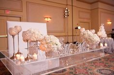 LOVE this sweetheart table! Lots of crystals & candlelight