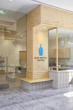 Blue Bottle Coffee, Century City by wrk-shp Cafe Shop Design, Cafe Interior Design, Store Design, Plywood Furniture, Design Furniture, Japanese Coffee Shop, Restaurant Design, Modern Restaurant, Diy Interior Doors