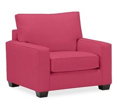 PB Comfort Square Arm Upholstered Grand Armchair, Box Edge Down Blend Wrapped Cushions, Linen Blend Pink Magenta