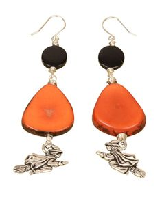 #DIY Fly by Night Earrings - TierraCast Charm Witch + tagua nut coin + tagua nut banana chip - by ANTELOPE BEADS - Beaded jewellery for Halloween