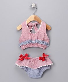 Red & White Ruffle Bikini - Infant
