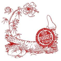 Whimsical Log Unmounted Red Rubber Stamp