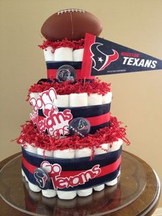 Born to be Texans Fans! Diaper cake. Go Houston Texans!