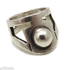 ERIKA HULT de CORRAL STERLING SILVER MODERNIST MEXICAN TAXCO RING SIZE 6.5