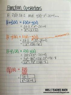 Function Operations Interactive Notebook Page | mrseteachesmath.blogspot.com Math Teacher, Teaching Math, 9th Grade Math, Sixth Grade, College Math, Math Notes, Maths Algebra, Math Fractions, Math Math
