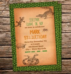 Custom Printable Reptile Birthday Party by MonicaGraphicDesign, $13.00
