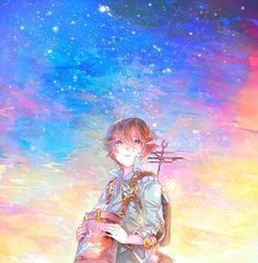 Fragile Dreams, Seto, video game, anime boy, beautiful, sky, stars, art, farewell ruins of the moon.