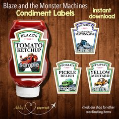 BLAZE and the MONSTER MACHINES Condiment Labels-  Digital File by AshleysPaperTrail on Etsy https://www.etsy.com/listing/234972894/blaze-and-the-monster-machines-condiment