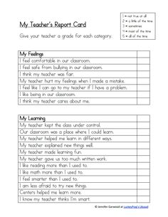 End of the Year- Generic Teacher's Report Card.pdf - Google Drive Let the students give the teacher a report card at the end of the year!