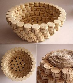 Basteln mit Korken – 30 kreative und einfache Bastelideen tinker-with-corks-creative-and-simple-craft-ideas-for-DIY-fruit-bowl-made of cork Wine Craft, Wine Cork Crafts, Wine Bottle Crafts, Crafts With Corks, Diy Corks, Wine Bottles, Diy With Corks, Crafts With Bottles, Champagne Cork Crafts