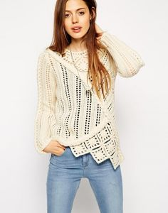 crochet and knit sweater - chunky crochet scarf - Asos #Crochet #Fashion