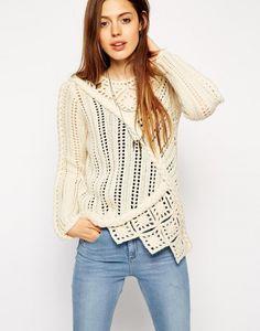 crochet and knit sweater - chunky crochet scarf - Asos #Crochet #Fashion