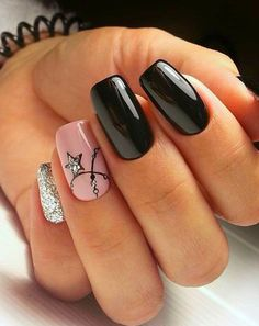 12 Ideas For Short Gel Nails Square Black Long Nail Designs Square, Short Square Nails, Short Nail Designs, Short Gel Nails, Long Nails, My Nails, Fall Nails, Summer Nails, Pink Ombre Nails