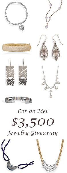 $3500 Jewelry Giveaway from Cor do Mel! Great website that sells affordable jewelry for women, and even sells a few high end boutique items in their LUXE COLLECTION.
