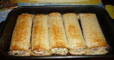 Ingredience 4 ks chlebaLavaš 1 rajče 700 g kuřecích prsou 150 g tvrdého sýra 3-4 ks nakládaných okurek 1ks červené papriky 150 g šunky 1 vajíčko majonéza (dle chuti) koření (dle chuti) Postup přípravy Kuřecí prsa si uvařte v osolené vodě. Šunku a uvařené kuřecí maso si nařežte na proužky, sýr nastrouhejte na struhadle, papriku, […] Hot Dog Buns, Hot Dogs, Slovak Recipes, Sausage, Food And Drink, Dairy, Bread, Cookies, Ethnic Recipes