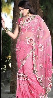 Scintillating Deep Pink Embroidered Saree