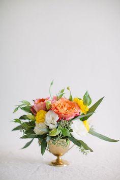 Brigitte Bardot Inspired Bridal Brunch ⋆ Ruffled - citrus-y floral arrangement, photo by Jennifer Trahan, styling by Little Vintage Rentals ruffledblo - Wedding Arrangements, Wedding Flower Arrangements, Wedding Bouquets, Floral Arrangements, Purple Bouquets, Flower Bouquets, Fresh Flowers, Silk Flowers, Beautiful Flowers