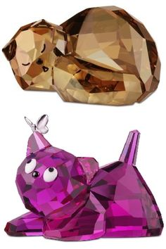 swarovski crystal cats -have both - the sleeping kitty is one of my favorites Swarovski Crystal Figurines, Swarovski Crystals, Glass Figurines, Crystal Collection, Colored Glass, Cat Art, Glass Art, Sculptures, Creations