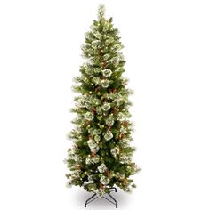 national tree company 76 pre lit and decorated artificial wintry pine christmas