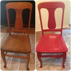 Paint old chairs red :) #decor. What a fantastic #ShadesOfSummer idea!  Find all your favourite wood finish shades on the Asian Paints website.
