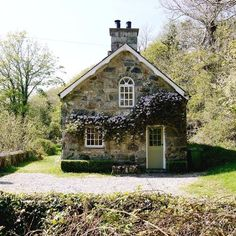little stone cottage, exterior, home, house, garden