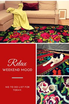 Teppich kilim by MadewithloveRO Weekend Quotes, Weekend Vibes, Wool Carpet, Good Vibes Only, Bohemian Decor, Colorful Decor, Good Books, Your Pet, Hand Weaving