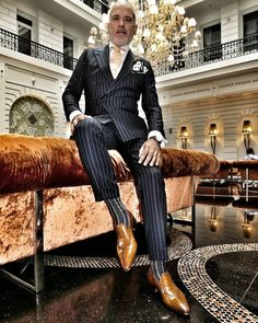 Suit and shirt by bespoke loafers by socks by Sharp Dressed Man, Well Dressed Men, Mens Fashion Suits, Mens Suits, Finsbury Shoes, Toronto Fashion Week, Bespoke Suit, Pinstripe Suit, Mode Chic