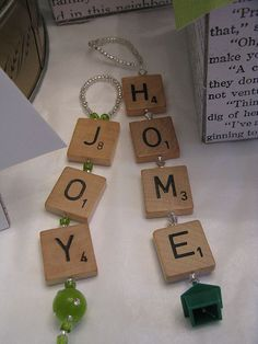 Beaded Scrabble Ornaments (How cute is the Monopoly house at the bottom of home?)