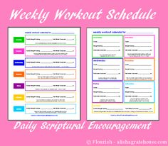 Weekly Workout Schedule with Daily Scriptural Encouragement - alishagratehouse.com