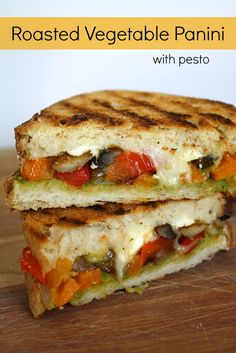 Roasted Vegetable Panini with Pesto Ingredients 3 bell peppers (I use 2 red, 1 orange) 1 onion, 8 oz. mushrooms, sliced, Asparagus, Shredded mozzarella, Feta, Pesto, Olive oil, Kosher salt Italian bread (2 slices per sandwich) Bake veggies w/ olive oil and kosher salt at 425F. Roast for 25-30 minutes. Layer toppings and cook each side 5-8 minutes on medium heat (skillet or grill).