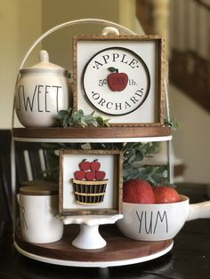 Apple Orchard Signs pair perfectly with rae dunn Apple Decorations, Halloween Decorations, Kitchen Decorations, Apple Kitchen Decor, Seasonal Decor, Holiday Decor, Christmas Decor, Tray Styling, Tiered Stand