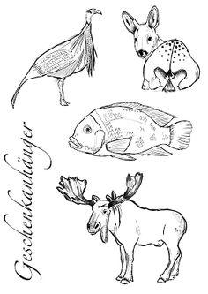 Tierzeichnungen als Geschenkanhänger (printable wildlife gift tags)
