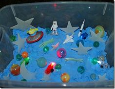 "could use with ""moon sand"" recipe Solar System Activities, Space Activities, Sensory Activities, Space Preschool, Preschool Crafts, Crafts For Kids, Preschool Ideas, Outer Space Crafts, Outer Space Theme"