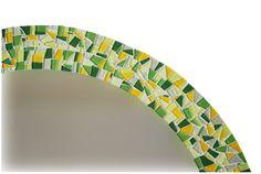 Round Mosaic Mirror Yellow and Green Wall by GreenStreetMosaics, $175.00