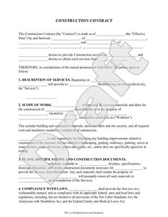 ConstructionCompanyContractTemplate  Sample Construction
