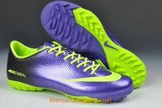 Nike Mercurial Vapor IX TF Soccer Cleats Deep Purple Fluorescent Green