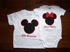 SHIPS FREE Personalized Custom Mr and/or Miss Mouse Inspired Shirt and/or Onesie Sister Brother Vacation Set for Big Little Siblings